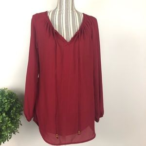 Living Doll LA medium burgundy long sleeve blouse